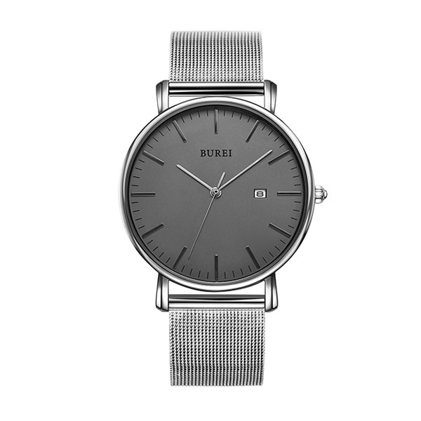 Minimalism Stainless Steel Watch-41 mm Silver Mesh Belt Grey Dial-Text Customization