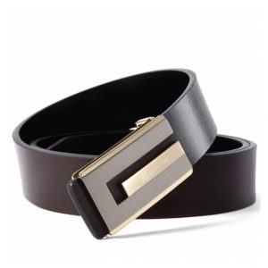 Haut-Ton Large Buckle Leather Black Belt Ghulio