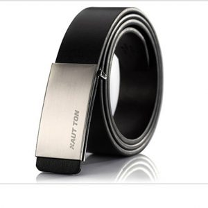 Haut-Ton Silver Buckle Black Leather Belt Ghulio