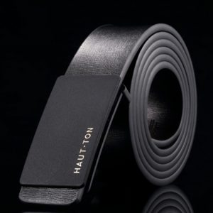 Haut-Ton Silver Buckle Black Leather Belt Kenya