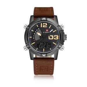 Naviforce 9095 Relogio Masculino Men's Fashion Waterproof Leather Watch ghulio