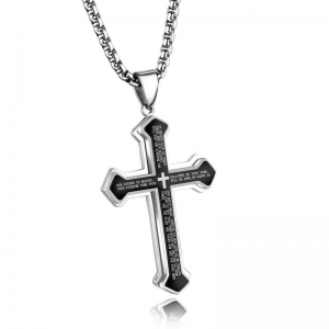 Three-Layer Bible Cross Pendant Necklace